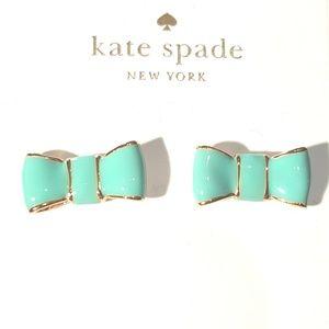 NWT KATE SPADE GREEN & GOLD BOW EARRINGS